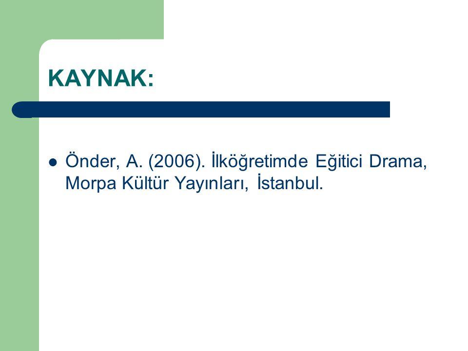 KAYNAK: Önder, A. (2006). İlköğretimde Eğitici Drama, Morpa Kültür Yayınları, İstanbul.