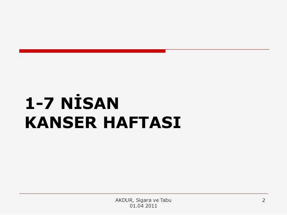 1-7 NİSAN KANSER HAFTASI AKDUR, Sigara ve Tabu 01.04 2011 2