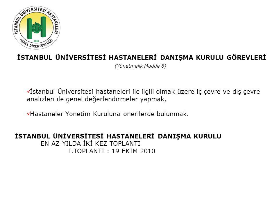 Geçmiş Şuan Gelecek İSTANBUL ÜNİVERSİTESİ HASTANELERİ DANIŞMA KURULU GÖREVLERİ (Yönetmelik Madde 8) İstanbul Üniversitesi hastaneleri ile ilgili olmak