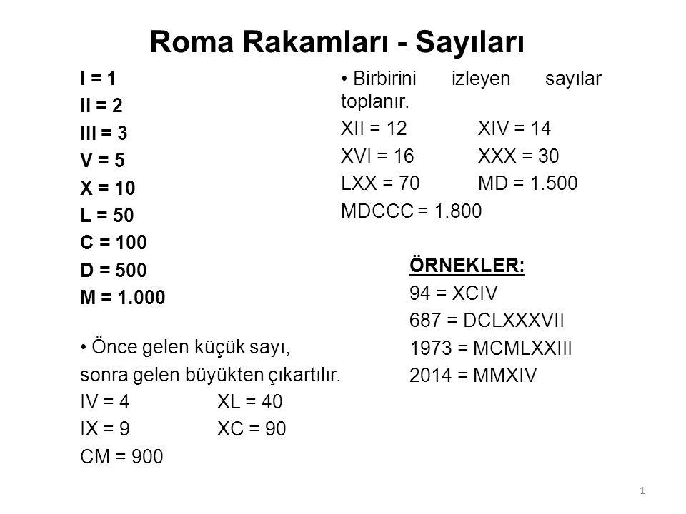 Roma Rakamları - Sayıları I = 1 II = 2 III = 3 V = 5 X = 10 L = 50 C = 100 D = 500 M = 1.000 Önce gelen küçük sayı, sonra gelen büyükten çıkartılır.