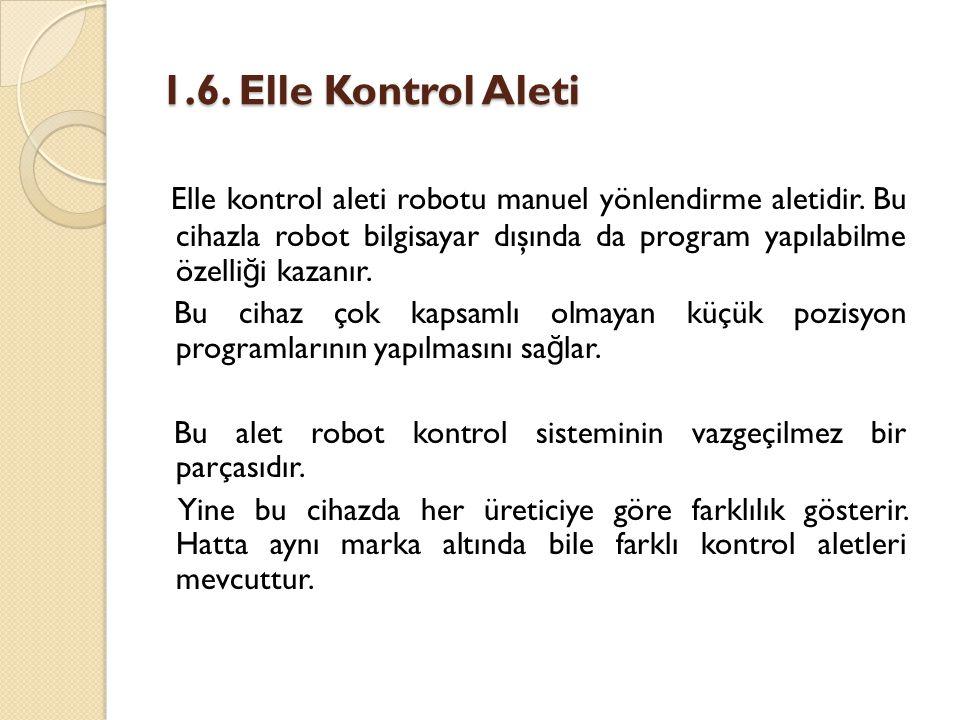 1.6. Elle Kontrol Aleti Elle kontrol aleti robotu manuel yönlendirme aletidir. Bu cihazla robot bilgisayar dışında da program yapılabilme özelli ğ i k
