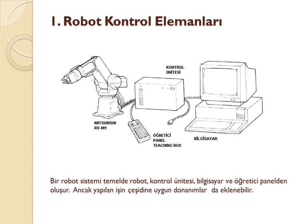 Bir robot sistemi temelde robot, kontrol ünitesi, bilgisayar ve ö ğ retici panelden oluşur. Ancak yapılan işin çeşidine uygun donanımlar da eklenebili