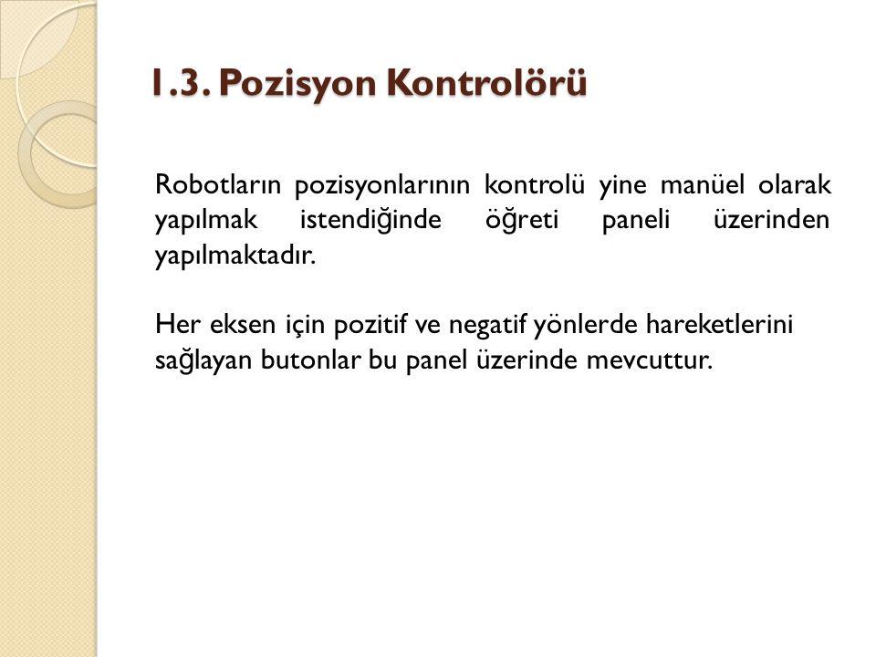 1.3. Pozisyon Kontrolörü Robotların pozisyonlarının kontrolü yine manüel olarak yapılmak istendi ğ inde ö ğ reti paneli üzerinden yapılmaktadır. Her e
