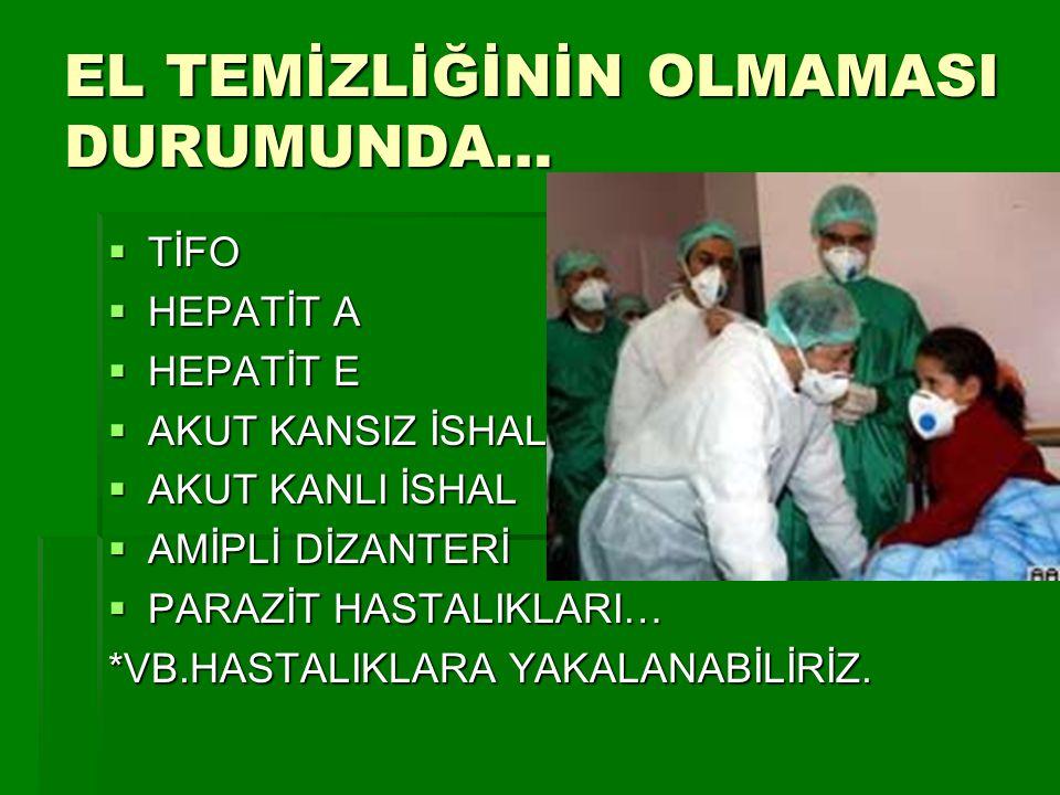 EL TEMİZLİĞİNİN OLMAMASI DURUMUNDA…  TİFO  HEPATİT A  HEPATİT E  AKUT KANSIZ İSHAL  AKUT KANLI İSHAL  AMİPLİ DİZANTERİ  PARAZİT HASTALIKLARI… *