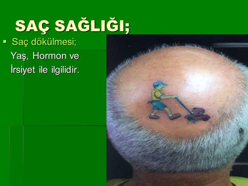 SAÇ SAĞLIĞI;  Saç dökülmesi; Yaş, Hormon ve Yaş, Hormon ve İrsiyet ile ilgilidir. İrsiyet ile ilgilidir.
