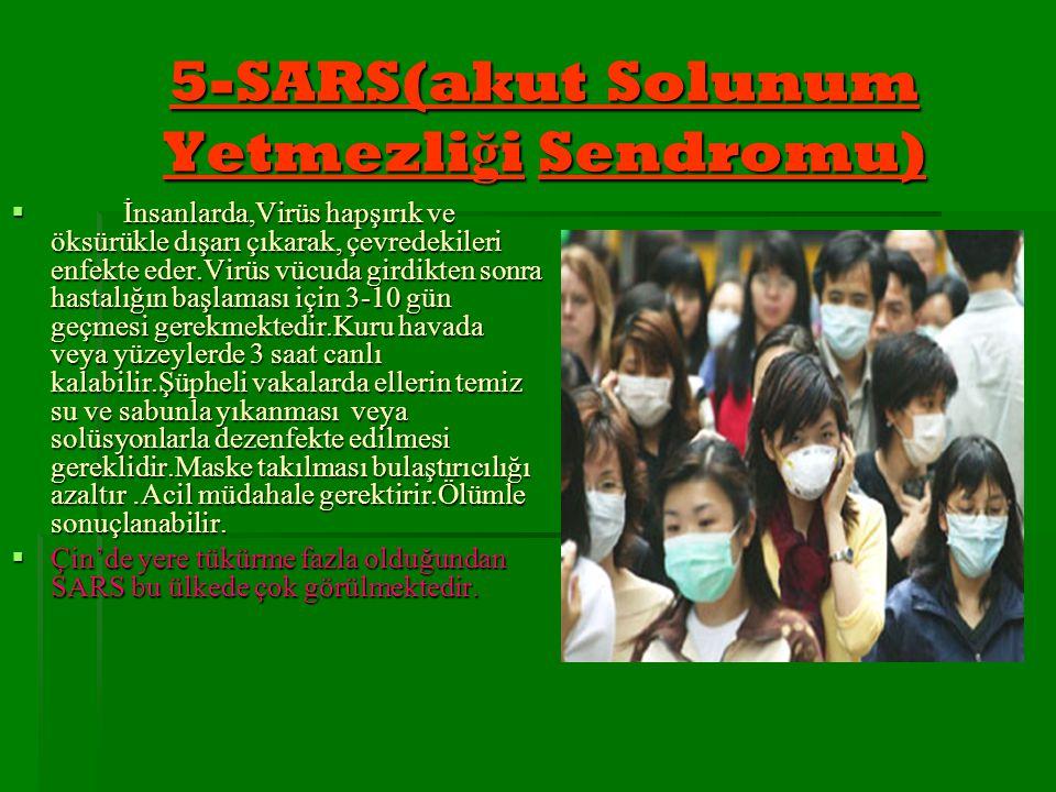 5-SARS(akut Solunum Yetmezli ğ i Sendromu)  İnsanlarda,Virüs hapşırık ve öksürükle dışarı çıkarak, çevredekileri enfekte eder.Virüs vücuda girdikten