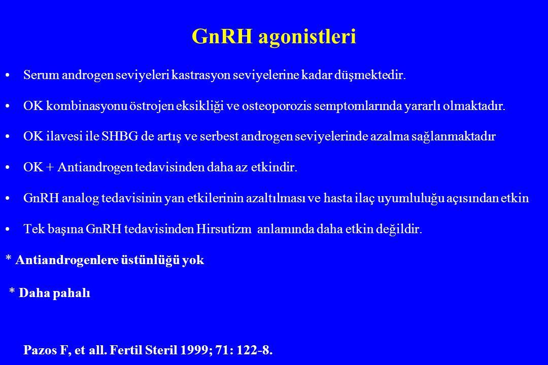 GnRH agonistleri Serum androgen seviyeleri kastrasyon seviyelerine kadar düşmektedir. OK kombinasyonu östrojen eksikliği ve osteoporozis semptomlarınd