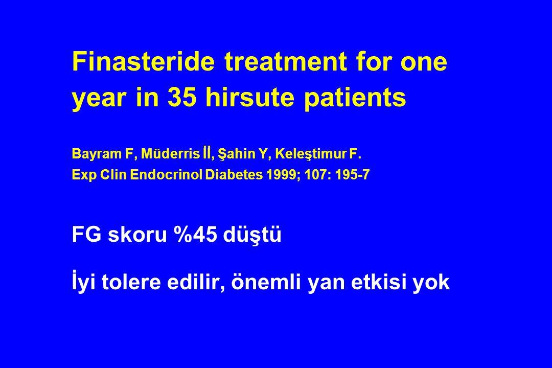 Finasteride treatment for one year in 35 hirsute patients Bayram F, Müderris İİ, Şahin Y, Keleştimur F. Exp Clin Endocrinol Diabetes 1999; 107: 195-7