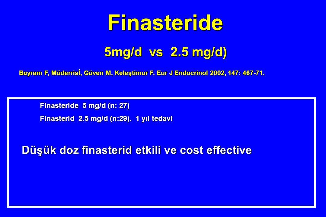 Finasteride 5mg/d vs 2.5 mg/d) Bayram F, Müderrisİ, Güven M, Keleştimur F. Eur J Endocrinol 2002, 147: 467-71. Finasteride 5 mg/d (n: 27) Finasterid 2