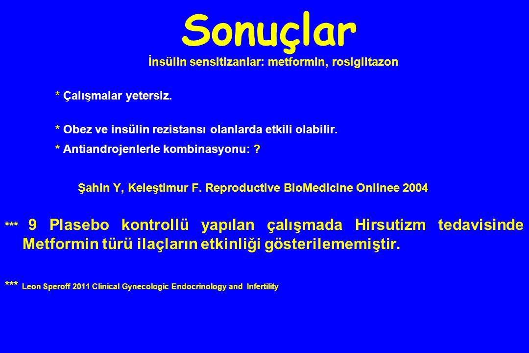 Sonuçlar İnsülin sensitizanlar: metformin, rosiglitazon * Çalışmalar yetersiz. * Obez ve insülin rezistansı olanlarda etkili olabilir. * Antiandrojenl