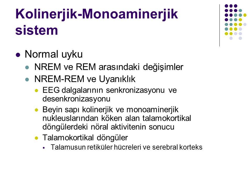 Kolinerjik-Monoaminerjik sistem Normal uyku NREM ve REM arasındaki değişimler NREM-REM ve Uyanıklık EEG dalgalarının senkronizasyonu ve desenkronizasyonu Beyin sapı kolinerjik ve monoaminerjik nukleuslarından köken alan talamokortikal döngülerdeki nöral aktivitenin sonucu Talamokortikal döngüler  Talamusun retiküler hücreleri ve serebral korteks