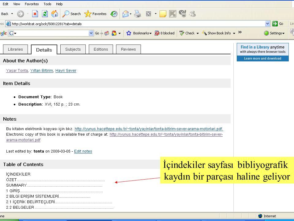 SLAYT 14BBY220 İçindekiler sayfası bibliyografik kaydın bir parçası haline geliyor