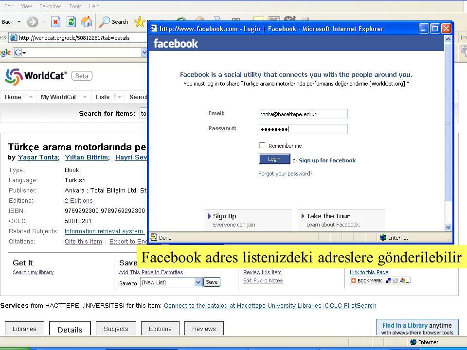 SLAYT 18BBY220 Facebook adres listenizdeki adreslere gönderilebilir