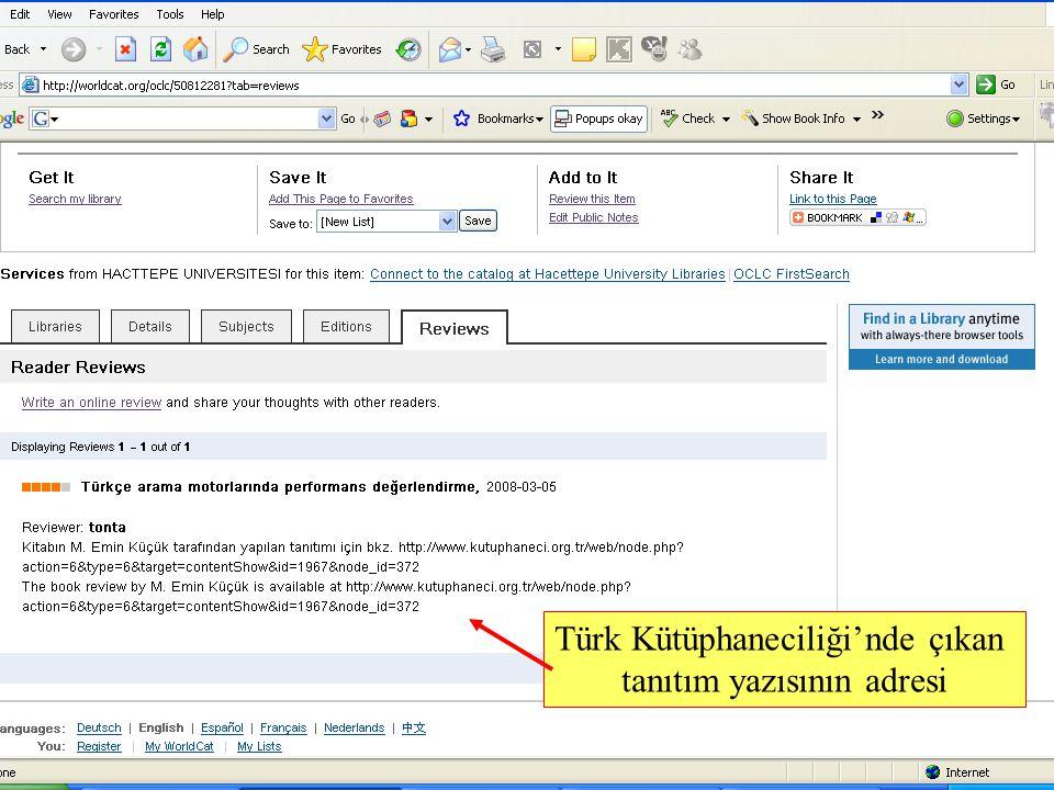 SLAYT 21BBY220 Türk Kütüphaneciliği'nde çıkan tanıtım yazısının adresi