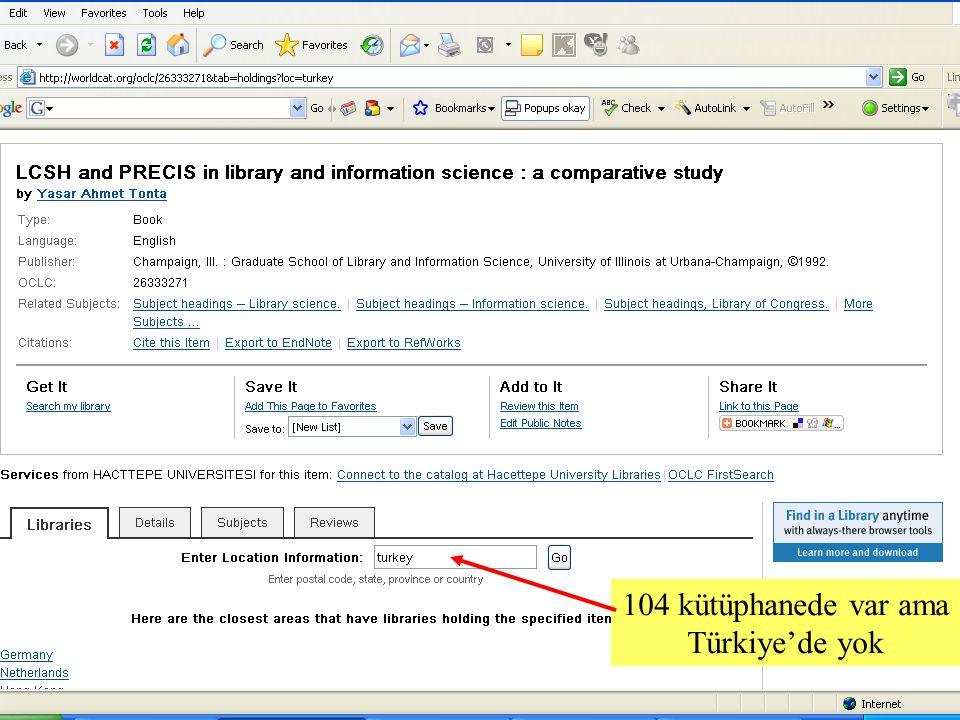 SLAYT 24BBY220 104 kütüphanede var ama Türkiye'de yok
