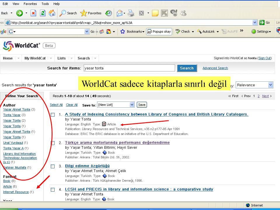 SLAYT 26BBY220 WorldCat sadece kitaplarla sınırlı değil