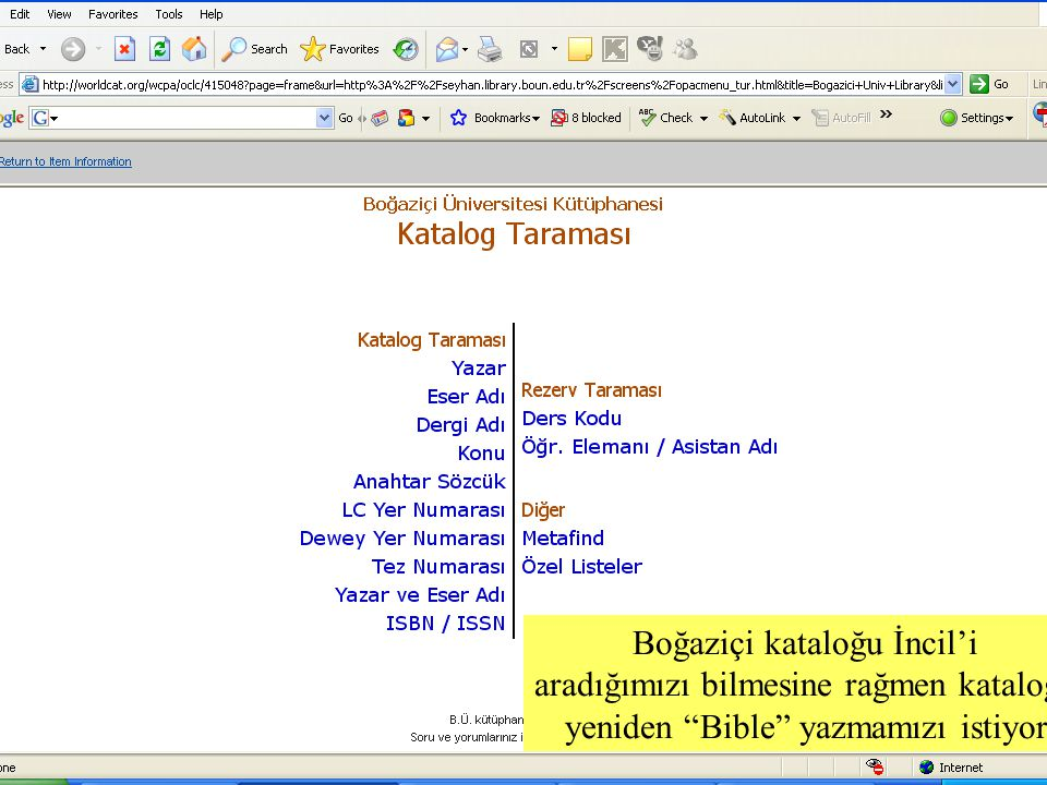 SLAYT 38BBY220 Boğaziçi kataloğu İncil'i aradığımızı bilmesine rağmen kataloğa yeniden Bible yazmamızı istiyor.
