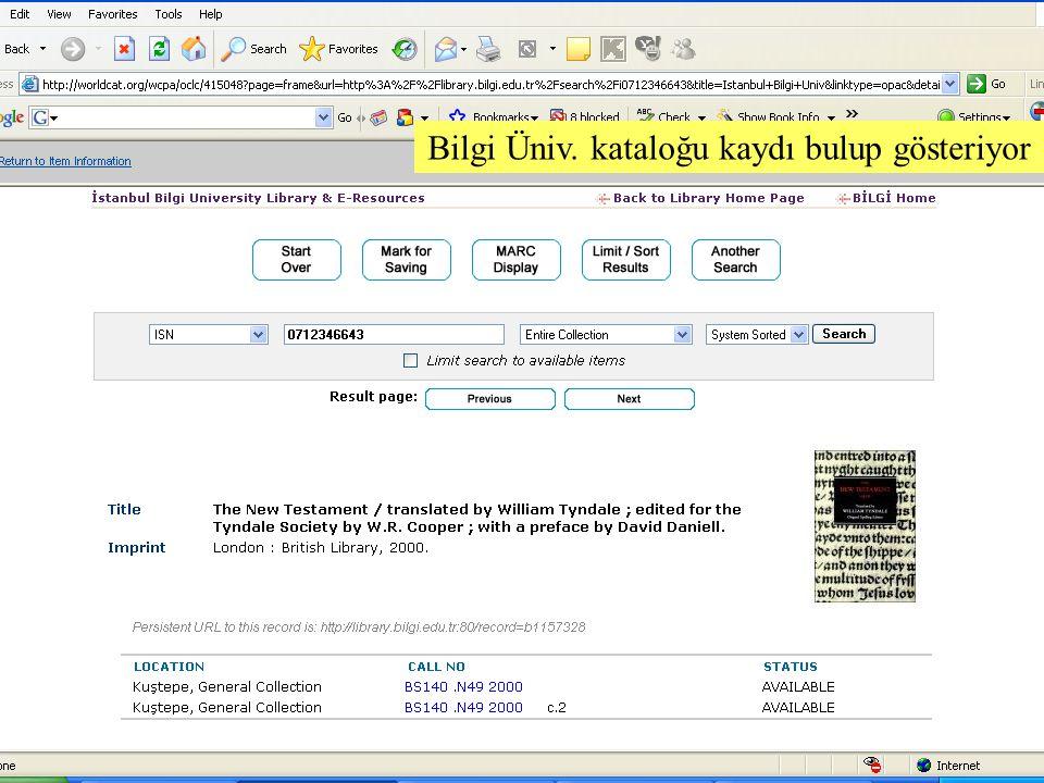SLAYT 39BBY220 Bilgi Üniv. kataloğu kaydı bulup gösteriyor