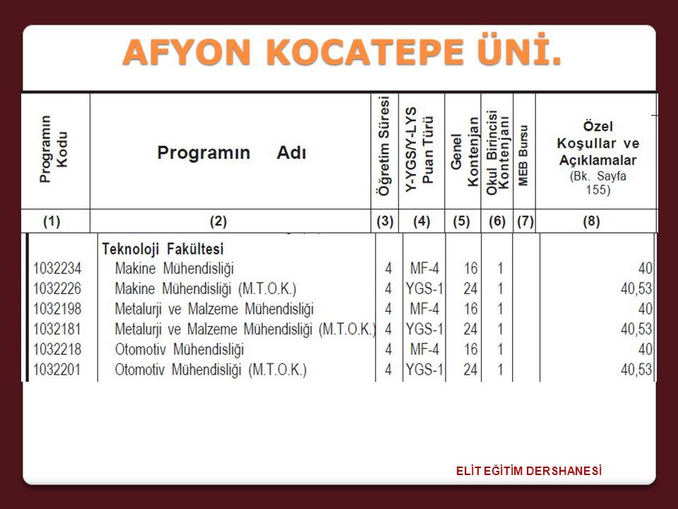 ELİT EĞİTİM DERSHANESİ AFYON KOCATEPE ÜNİ.