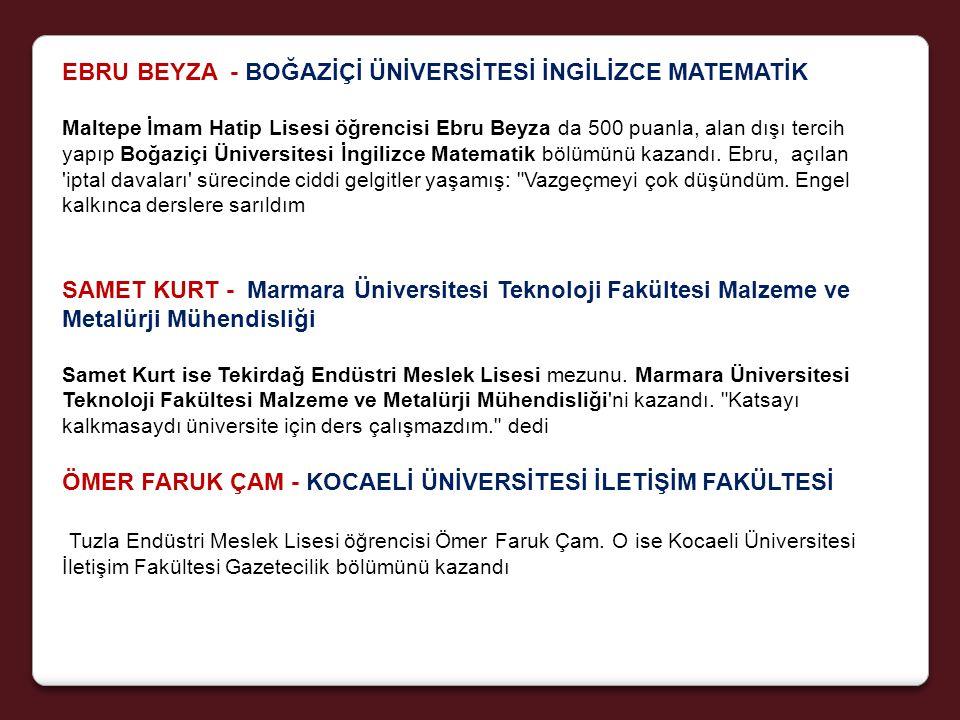EBRU BEYZA - BOĞAZİÇİ ÜNİVERSİTESİ İNGİLİZCE MATEMATİK Maltepe İmam Hatip Lisesi öğrencisi Ebru Beyza da 500 puanla, alan dışı tercih yapıp Boğaziçi Üniversitesi İngilizce Matematik bölümünü kazandı.