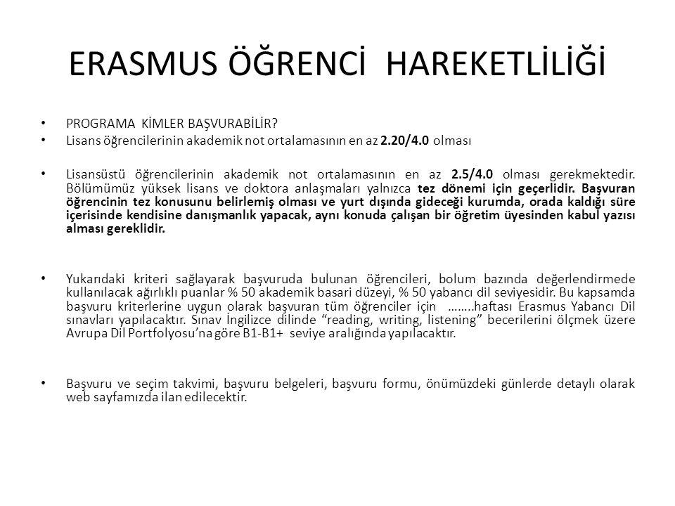 ERASMUS ÖĞRENCİ HAREKETLİLİĞİ PROGRAMA KİMLER BAŞVURABİLİR? Lisans öğrencilerinin akademik not ortalamasının en az 2.20/4.0 olması Lisansüstü öğrencil