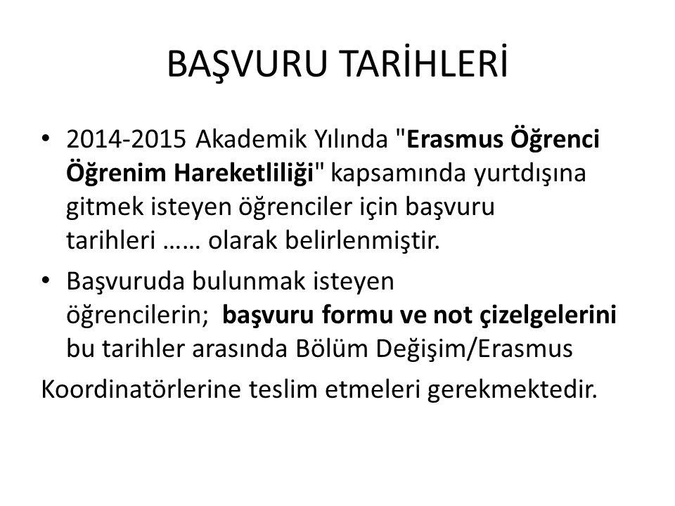 BAŞVURU TARİHLERİ 2014-2015 Akademik Yılında