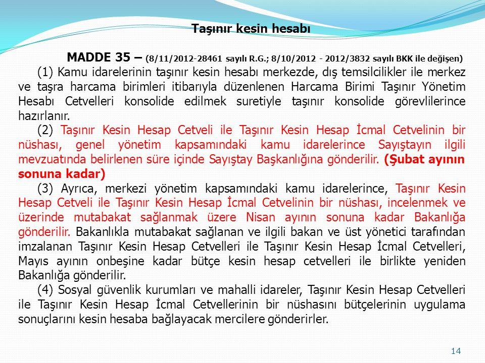 Taşınır kesin hesabı MADDE 35 – (8/11/2012-28461 sayılı R.G.; 8/10/2012 - 2012/3832 sayılı BKK ile değişen) (1) Kamu idarelerinin taşınır kesin hesabı