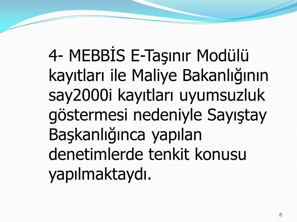 8 4- MEBBİS E-Taşınır Modülü kayıtları ile Maliye Bakanlığının say2000i kayıtları uyumsuzluk göstermesi nedeniyle Sayıştay Başkanlığınca yapılan denet