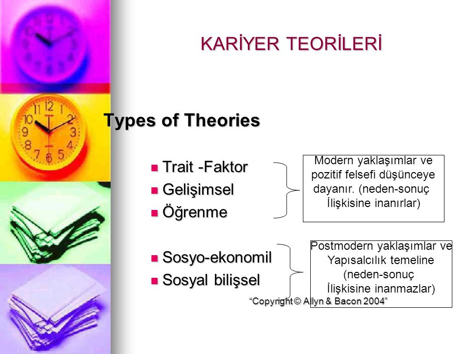 "KARİYER TEORİLERİ Types of Theories Trait -Faktor Trait -Faktor Gelişimsel Gelişimsel Öğrenme Öğrenme Sosyo-ekonomil Sosyo-ekonomil Sosyal bilişsel ""C"