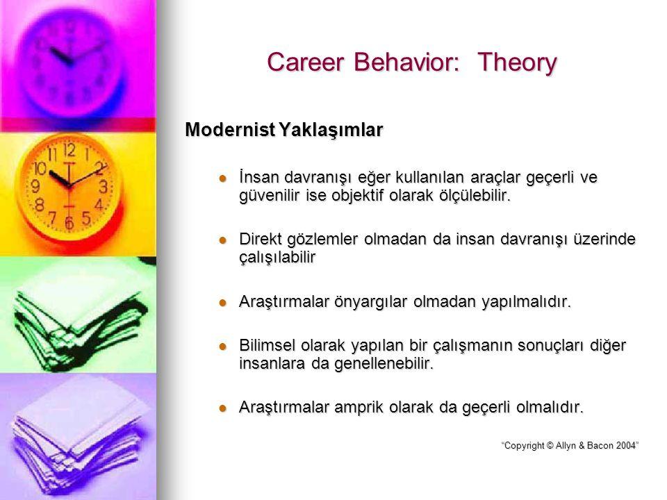 Career Behavior: Theory Modernist Yaklaşımlar İnsan davranışı eğer kullanılan araçlar geçerli ve güvenilir ise objektif olarak ölçülebilir. İnsan davr
