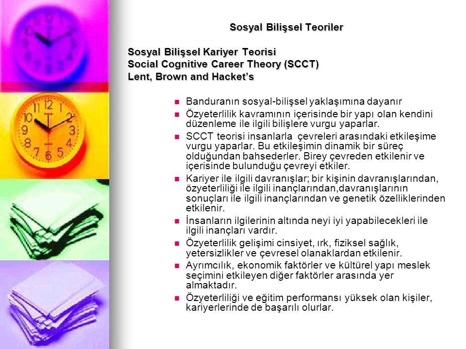 Sosyal Bilişsel Teoriler Sosyal Bilişsel Kariyer Teorisi Social Cognitive Career Theory (SCCT) Lent, Brown and Hacket's Banduranın sosyal-bilişsel yak