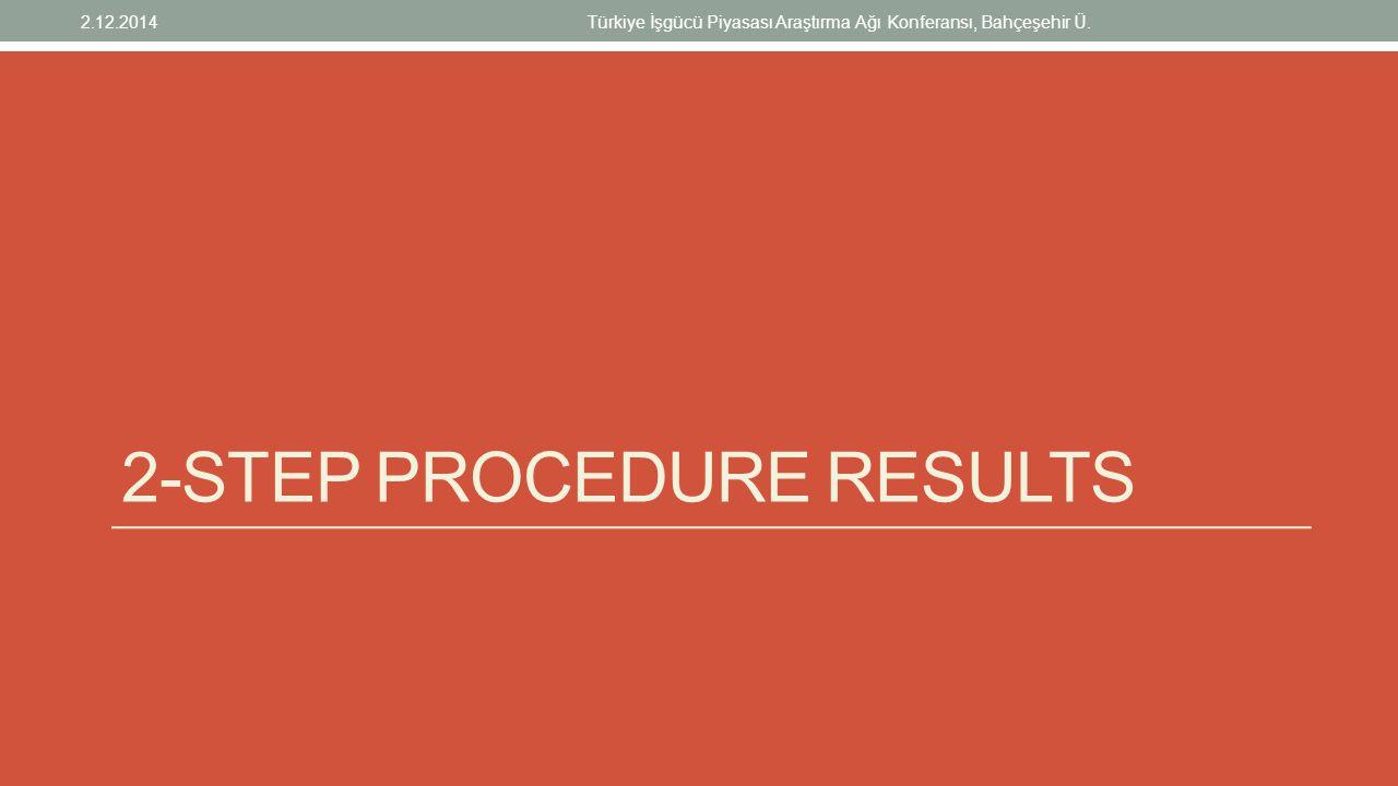 2-STEP PROCEDURE RESULTS 2.12.2014Türkiye İşgücü Piyasası Araştırma Ağı Konferansı, Bahçeşehir Ü.
