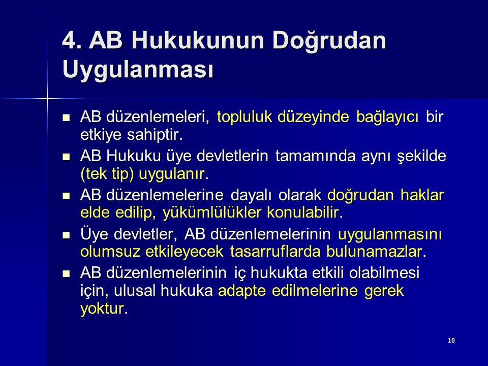 10 4. AB Hukukunun Doğrudan Uygulanması AB düzenlemeleri, topluluk düzeyinde bağlayıcı bir etkiye sahiptir. AB düzenlemeleri, topluluk düzeyinde bağla