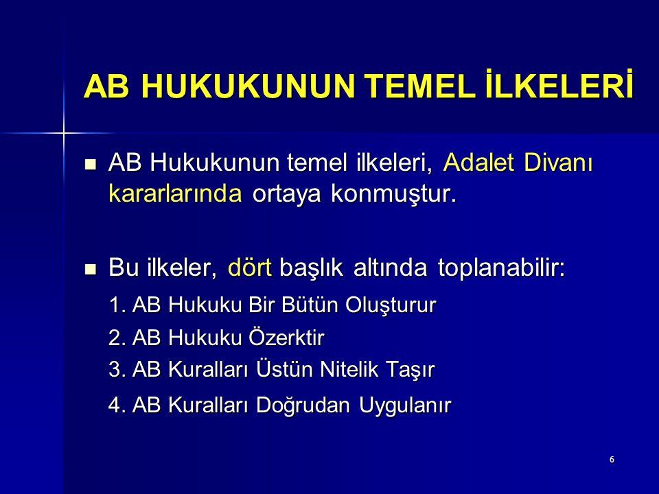 6 AB HUKUKUNUN TEMEL İLKELERİ AB Hukukunun temel ilkeleri, Adalet Divanı kararlarında ortaya konmuştur. AB Hukukunun temel ilkeleri, Adalet Divanı kar