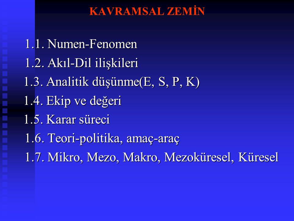 KAVRAMSAL ZEMİN 1.1. Numen-Fenomen 1.2. Akıl-Dil ilişkileri 1.3. Analitik düşünme(E, S, P, K) 1.3. Analitik düşünme(E, S, P, K) 1.4. Ekip ve değeri 1.