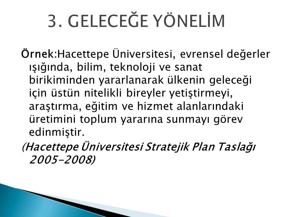 Örnek:Hacettepe Üniversitesi, evrensel değerler ışığında, bilim, teknoloji ve sanat birikiminden yararlanarak ülkenin geleceği için üstün nitelikli bi