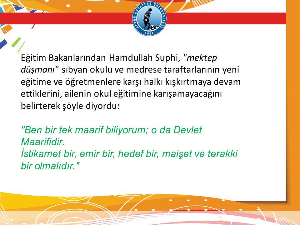 Eğitim Bakanlarından Hamdullah Suphi,