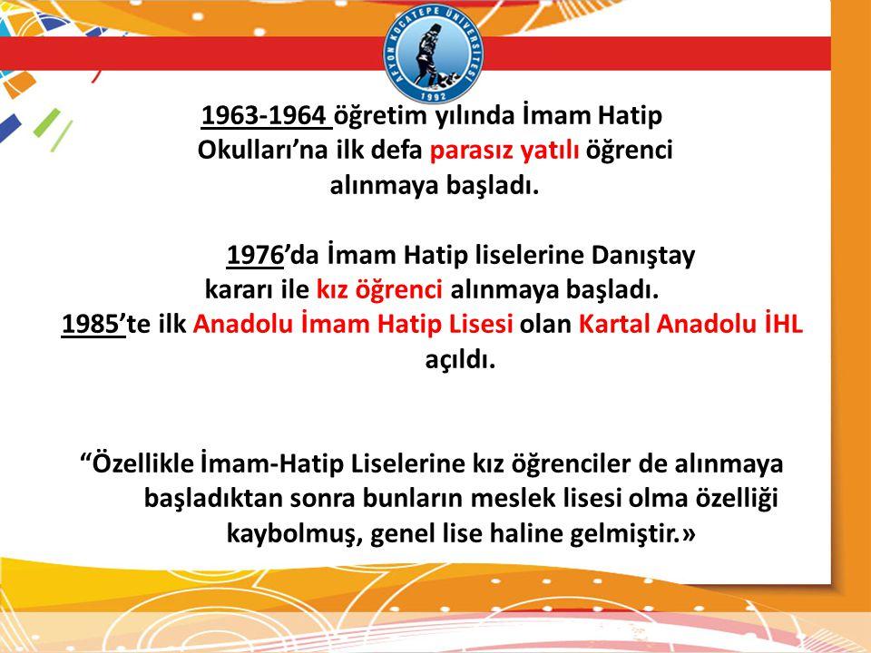 1963-1964 öğretim yılında İmam Hatip Okulları'na ilk defa parasız yatılı öğrenci alınmaya başladı. 1976'da İmam Hatip liselerine Danıştay kararı ile k