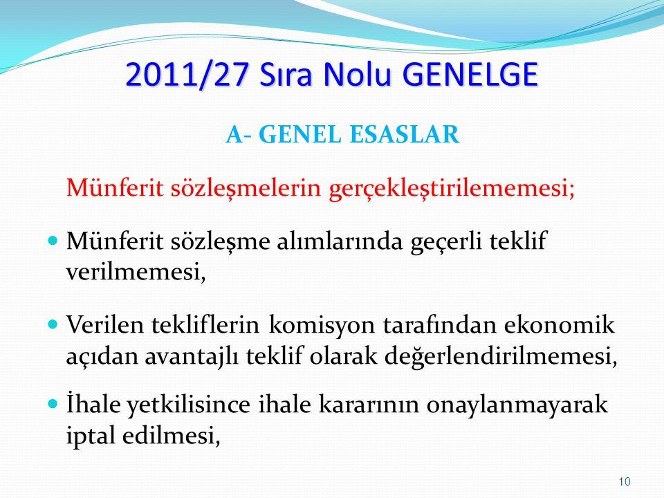 2011/27 Sıra Nolu GENELGE A- GENEL ESASLAR Münferit sözleşmelerin gerçekleştirilememesi; Münferit sözleşme alımlarında geçerli teklif verilmemesi, Ver