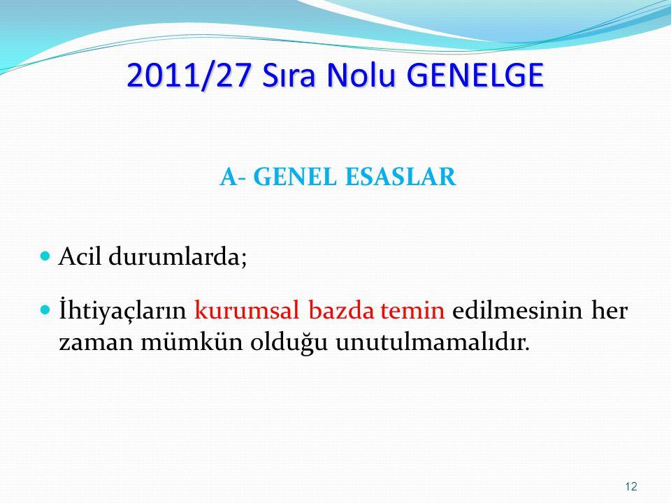 2011/27 Sıra Nolu GENELGE A- GENEL ESASLAR Acil durumlarda; İhtiyaçların kurumsal bazda temin edilmesinin her zaman mümkün olduğu unutulmamalıdır. 12