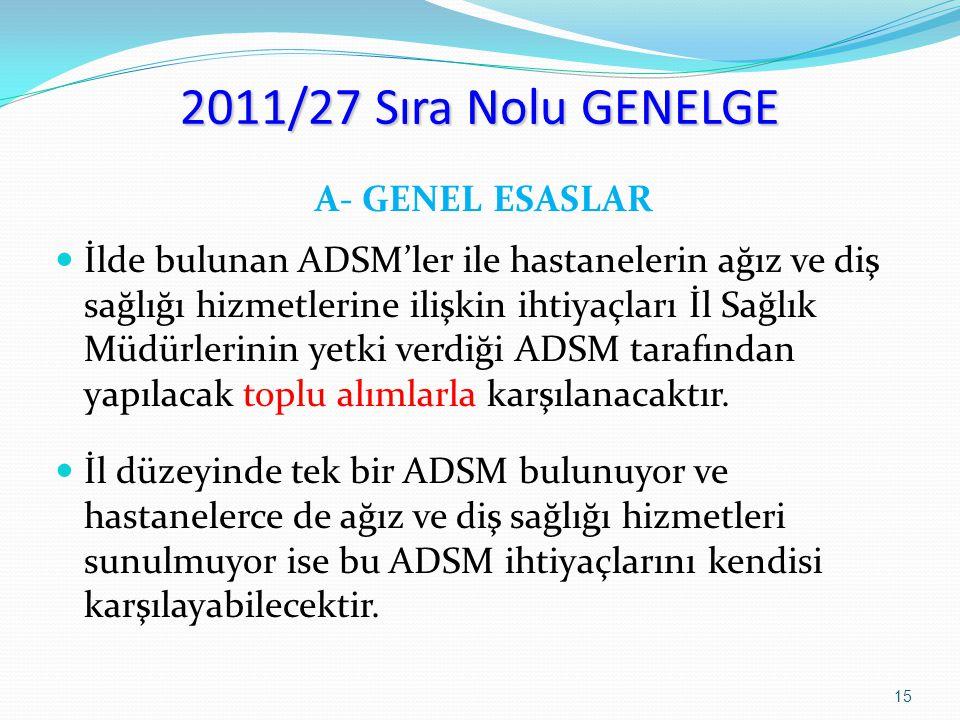 2011/27 Sıra Nolu GENELGE A- GENEL ESASLAR İlde bulunan ADSM'ler ile hastanelerin ağız ve diş sağlığı hizmetlerine ilişkin ihtiyaçları İl Sağlık Müdür