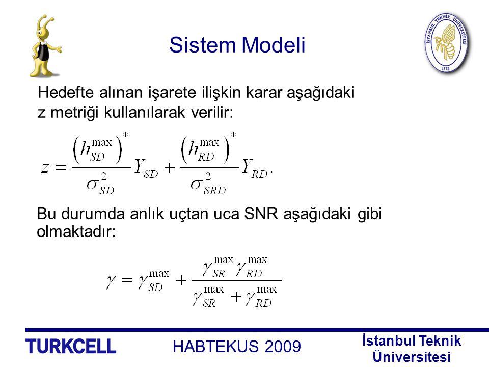 HABTEKUS 2009 İstanbul Teknik Üniversitesi Sistem Modeli Bu durumda anlık uçtan uca SNR aşağıdaki gibi olmaktadır: Hedefte alınan işarete ilişkin kara