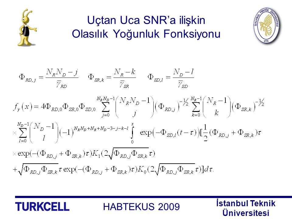 HABTEKUS 2009 İstanbul Teknik Üniversitesi Uçtan Uca SNR'a ilişkin Olasılık Yoğunluk Fonksiyonu
