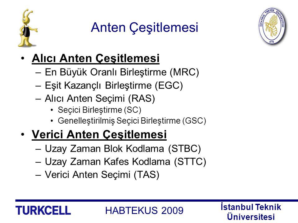 HABTEKUS 2009 İstanbul Teknik Üniversitesi Anten Çeşitlemesi Alıcı Anten Çeşitlemesi –En Büyük Oranlı Birleştirme (MRC) –Eşit Kazançlı Birleştirme (EG