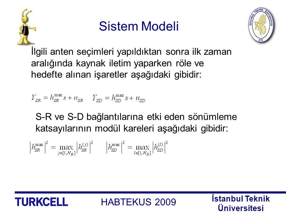 HABTEKUS 2009 İstanbul Teknik Üniversitesi Sistem Modeli α röledeki ölçekleme katsayısı olmak üzere ikinci zaman aralığında röle iletim yaparken hedefte elde edilen işaret aşağıdaki gibidir: R-D bağlantısına etki eden sönümleme katsayısının modül karesi aşağıdaki gibidir: