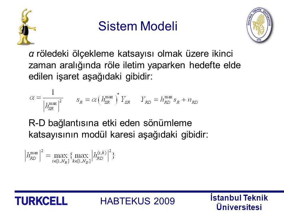 HABTEKUS 2009 İstanbul Teknik Üniversitesi Sistem Modeli Bahsedilen seçimler uygulandığında birimler arası bağlantılar için elde edilen anlık SNR'lar aşağıdaki gibi olmaktadır: Röleden hedefe iletilen işarette S-R yolundan aktarılan gürültü bileşeni de hesaba katıldığında elde edilen toplam gürültü bileşeninin varyansı aşağıdaki gibidir: