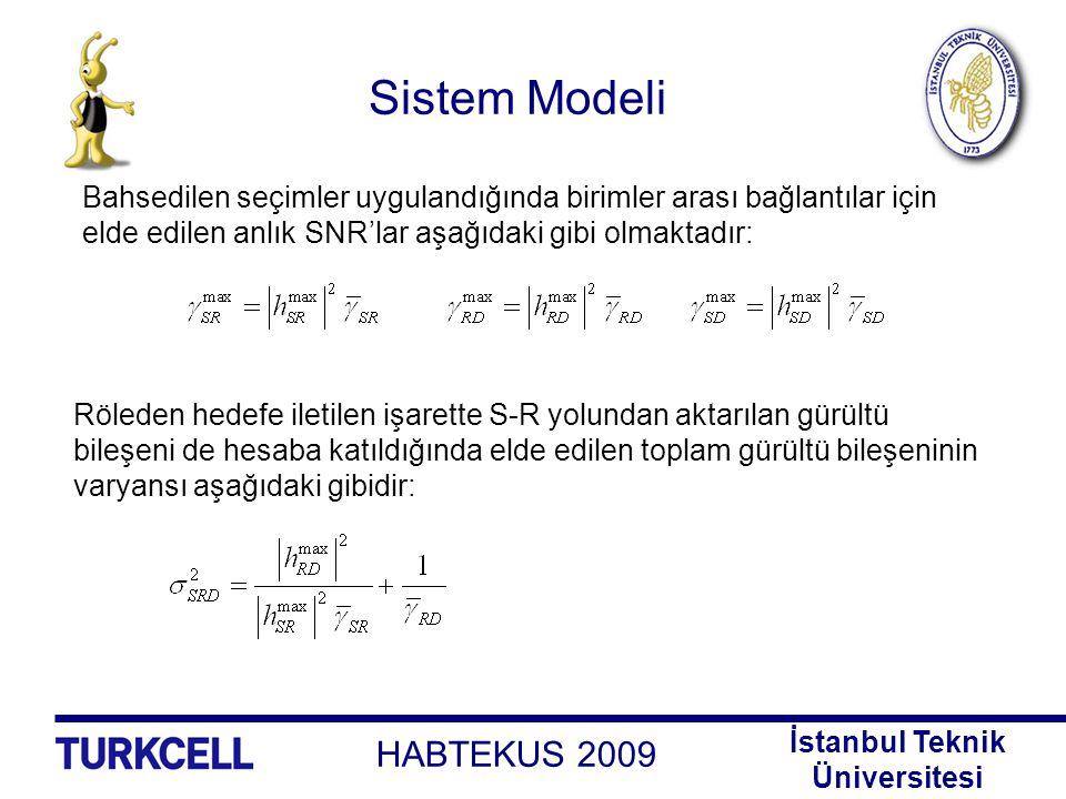 HABTEKUS 2009 İstanbul Teknik Üniversitesi Sistem Modeli Bu durumda anlık uçtan uca SNR aşağıdaki gibi olmaktadır: Hedefte alınan işarete ilişkin karar aşağıdaki z metriği kullanılarak verilir: