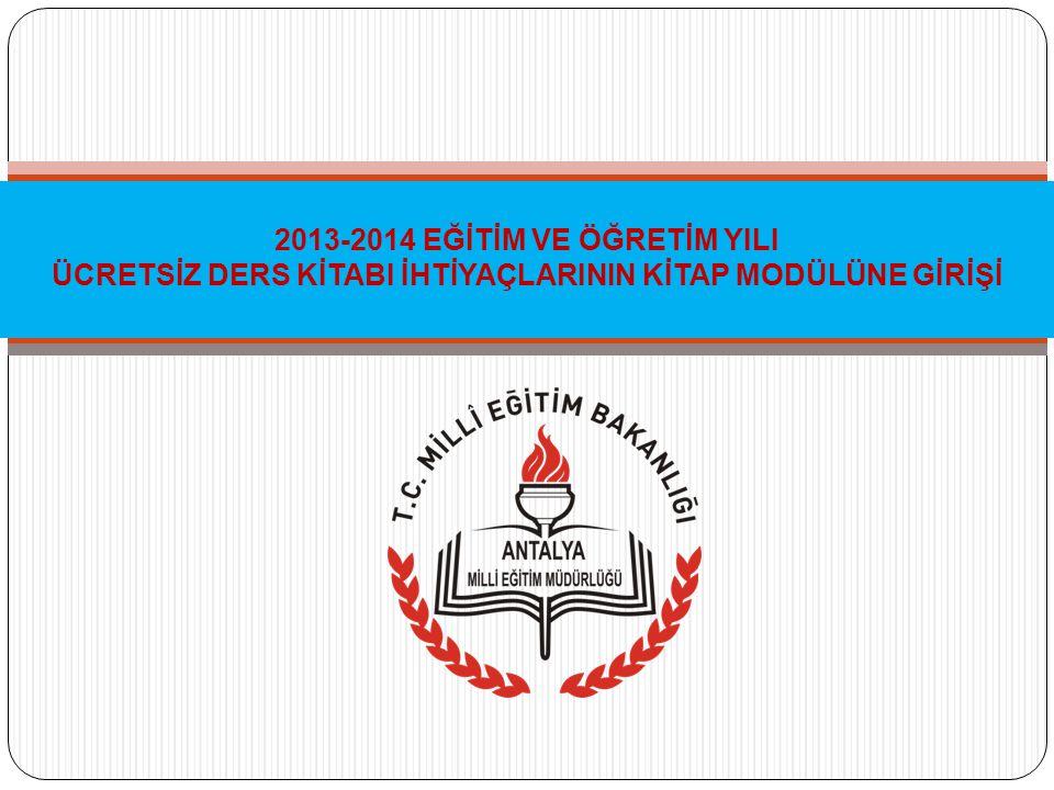 10/01/2013 tarihli, 76198665/115/20165 sayılı ve 2013/2 nolu Genelge de (Ocak 2013 tarih ve 2664 sayılı Tebliğler Dergisi) 2013-2014 Eğitim - Öğretim Yılı ders kitabı ihtiyaçlarının kitap seçim modülüne girişi resmi ve özel okulların kitap seçimi ile ilgili iş ve işlemlerin Kitap Seçim Modülü girişinde ayrıntılı olarak açıklanacağı belirtilmiştir.