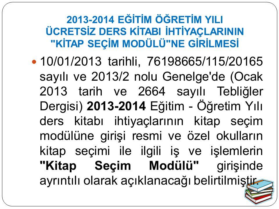 Kitap Seçim Modülü 28/01/2013 tarihinde açılmış olup, 25/02/2013 tarihinde kapatılacaktır.