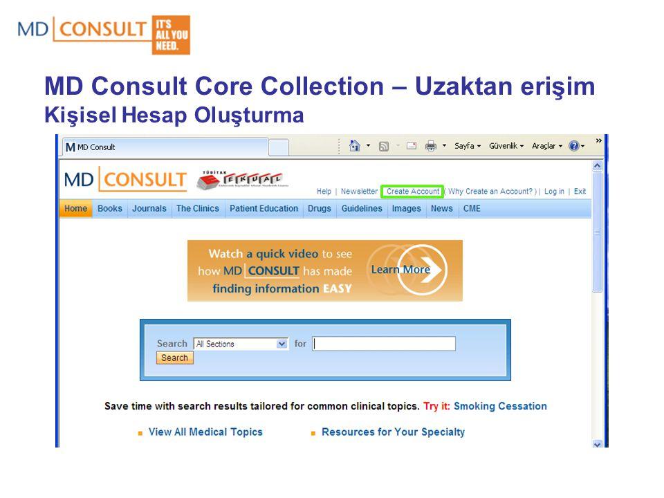 MD Consult Core Collection – Uzaktan erişim Kişisel Hesap Oluşturma